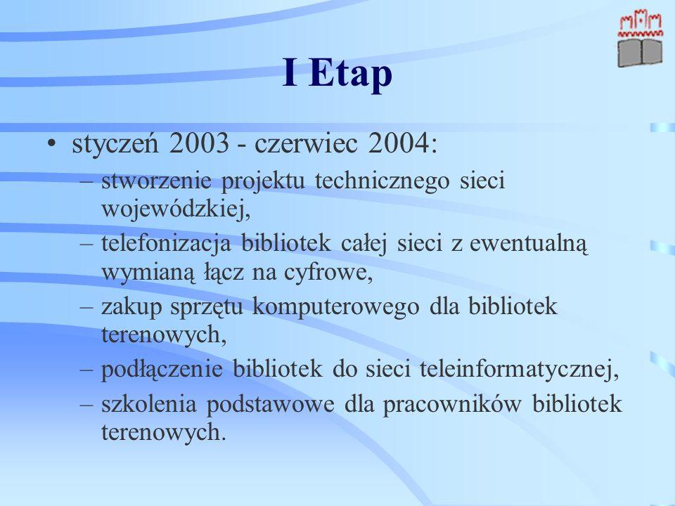 I Etap styczeń 2003 - czerwiec 2004: –stworzenie projektu technicznego sieci wojewódzkiej, –telefonizacja bibliotek całej sieci z ewentualną wymianą łącz na cyfrowe, –zakup sprzętu komputerowego dla bibliotek terenowych, –podłączenie bibliotek do sieci teleinformatycznej, –szkolenia podstawowe dla pracowników bibliotek terenowych.