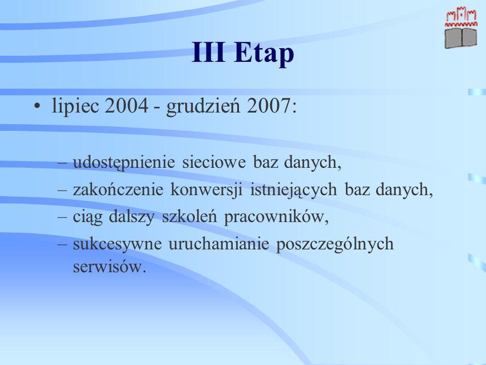 III Etap lipiec 2004 - grudzień 2007: –udostępnienie sieciowe baz danych, –zakończenie konwersji istniejących baz danych, –ciąg dalszy szkoleń pracowników, –sukcesywne uruchamianie poszczególnych serwisów.