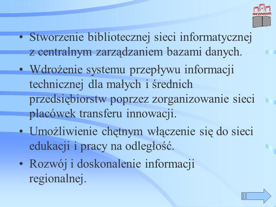 Stworzenie bibliotecznej sieci informatycznej z centralnym zarządzaniem bazami danych. Wdrożenie systemu przepływu informacji technicznej dla małych i