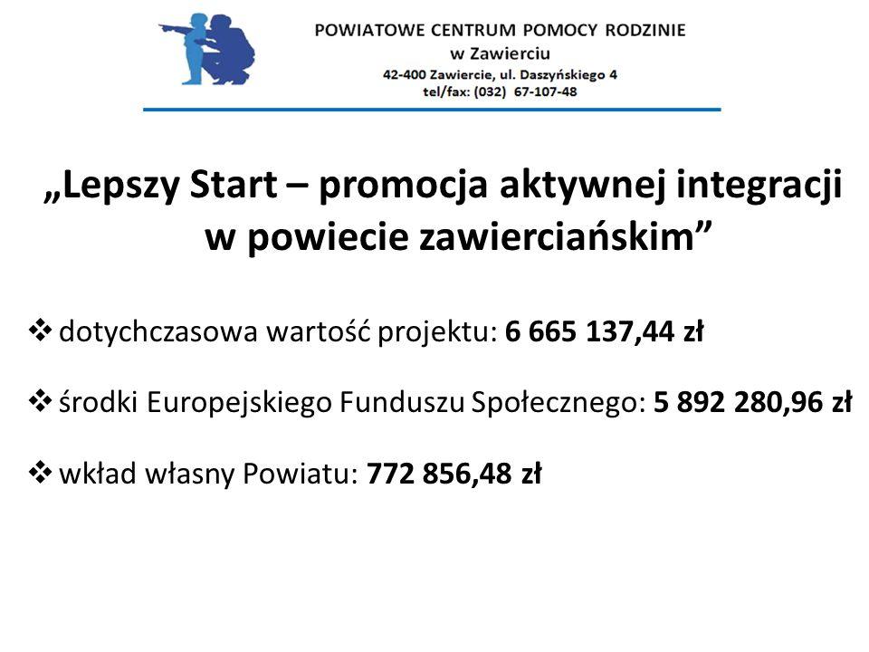 """""""Lepszy Start – promocja aktywnej integracji w powiecie zawierciańskim""""  dotychczasowa wartość projektu: 6 665 137,44 zł  środki Europejskiego Fundu"""