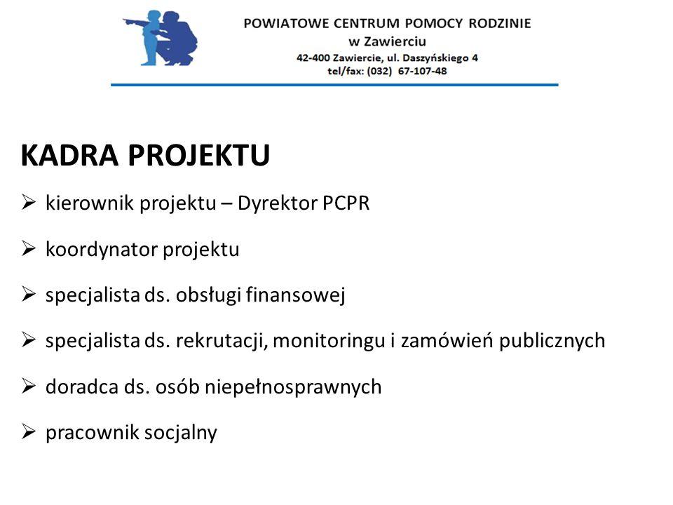 KADRA PROJEKTU  kierownik projektu – Dyrektor PCPR  koordynator projektu  specjalista ds. obsługi finansowej  specjalista ds. rekrutacji, monitori