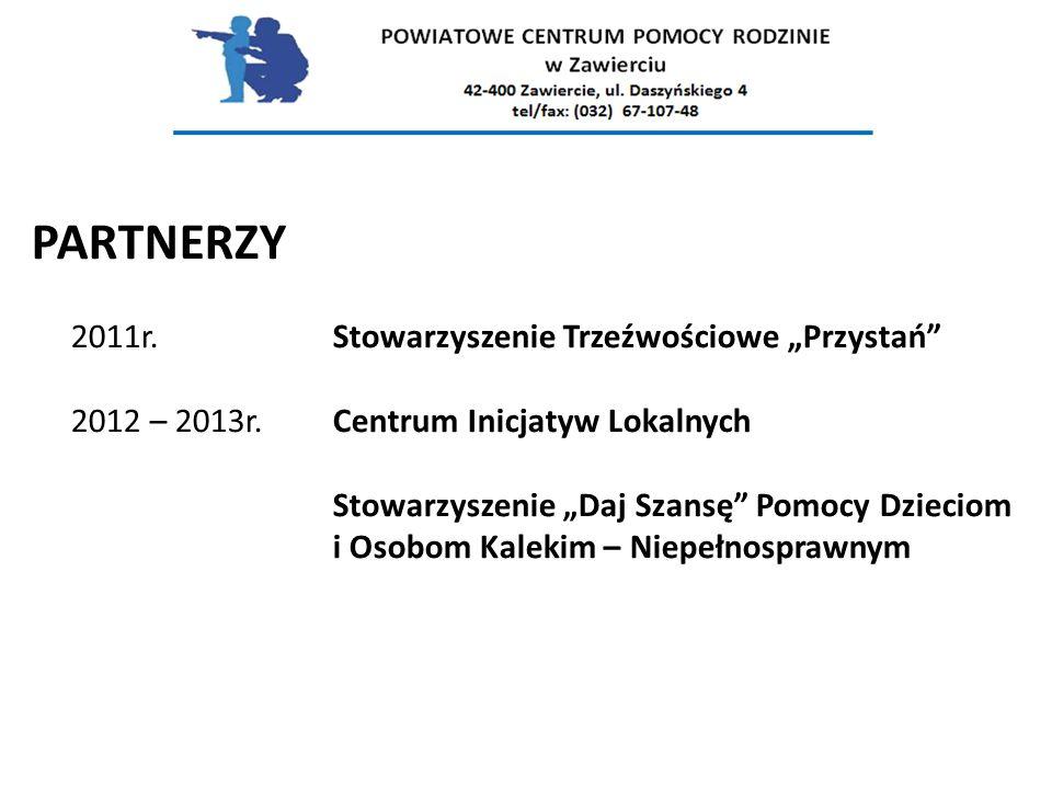 """PARTNERZY 2011r.Stowarzyszenie Trzeźwościowe """"Przystań 2012 – 2013r."""