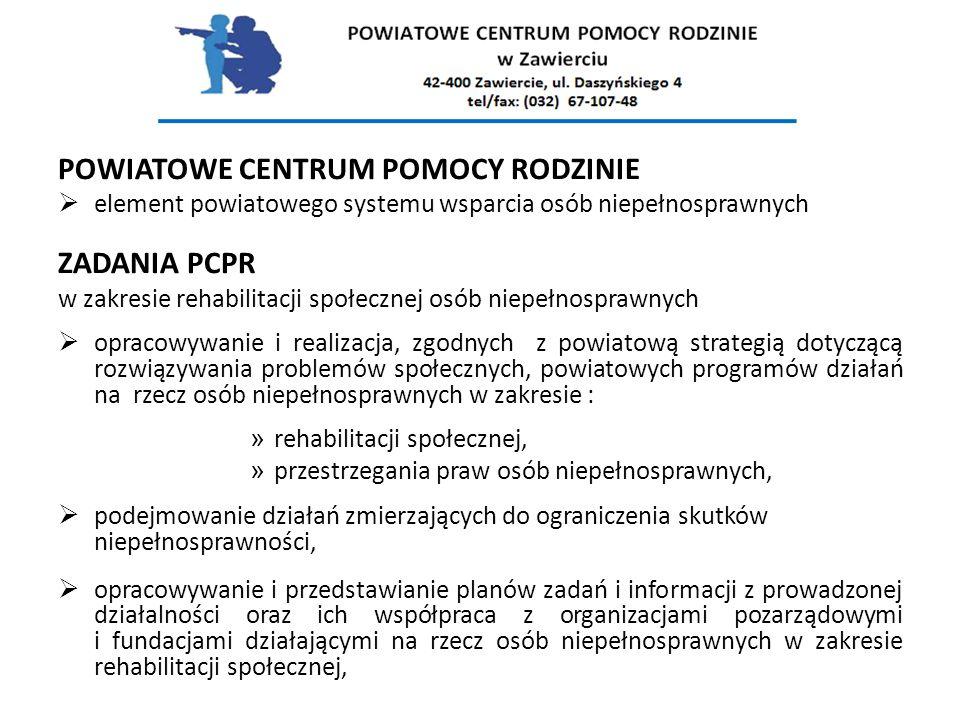 POWIATOWE CENTRUM POMOCY RODZINIE  element powiatowego systemu wsparcia osób niepełnosprawnych ZADANIA PCPR w zakresie rehabilitacji społecznej osób