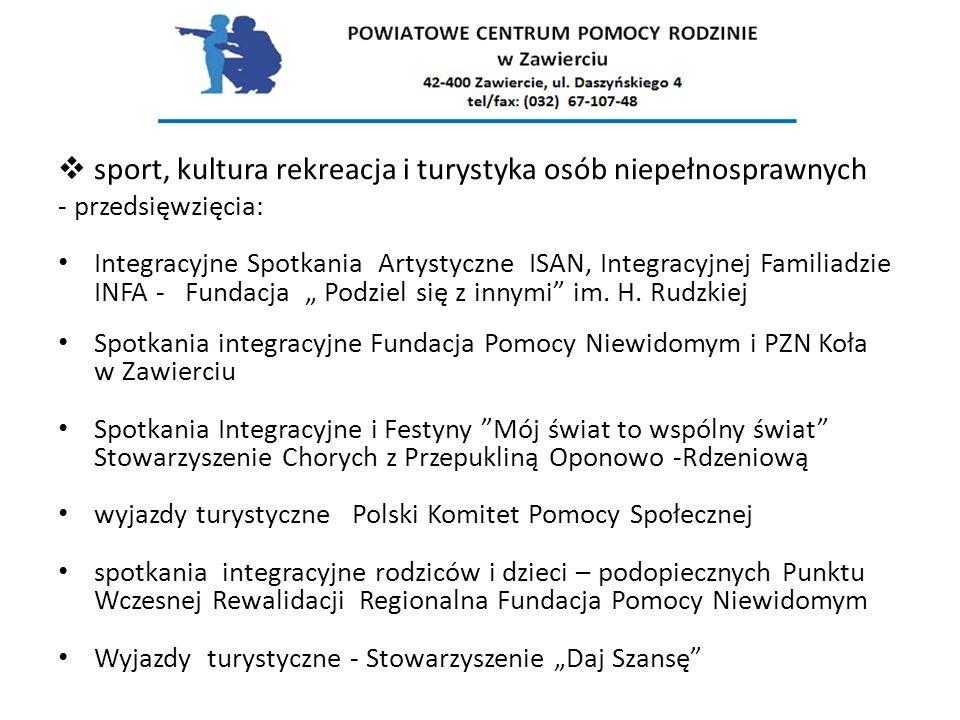  sport, kultura rekreacja i turystyka osób niepełnosprawnych - przedsięwzięcia: Integracyjne Spotkania Artystyczne ISAN, Integracyjnej Familiadzie IN