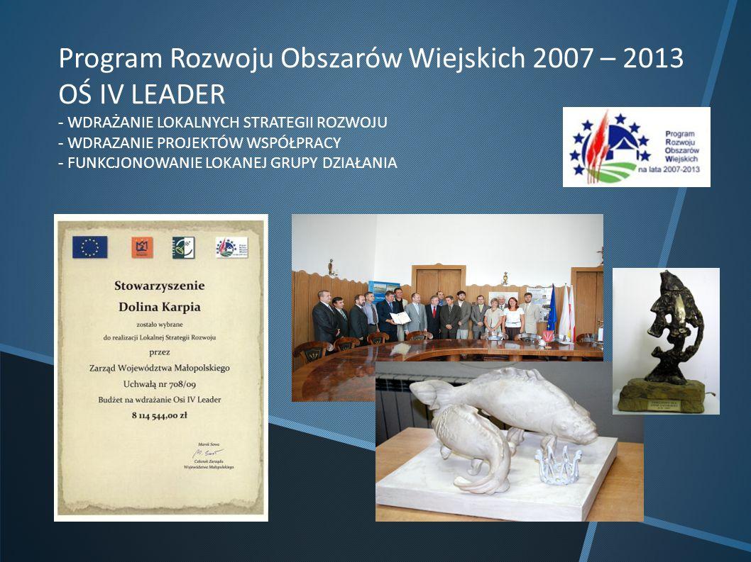 Program Rozwoju Obszarów Wiejskich 2007 – 2013 OŚ IV LEADER - WDRAŻANIE LOKALNYCH STRATEGII ROZWOJU - WDRAZANIE PROJEKTÓW WSPÓŁPRACY - FUNKCJONOWANIE