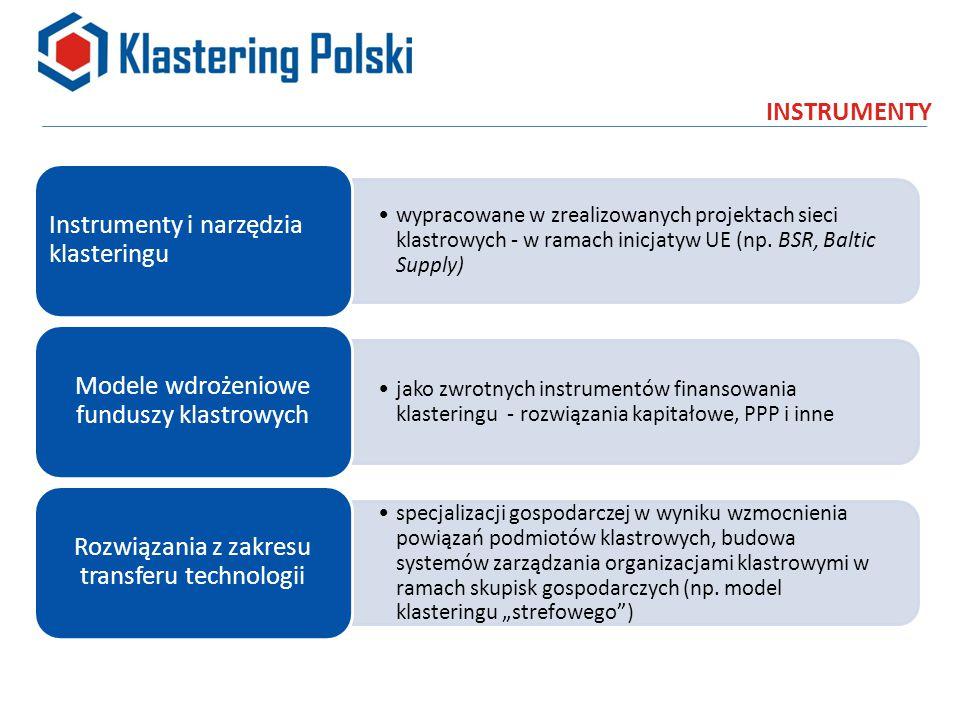 INSTRUMENTY wypracowane w zrealizowanych projektach sieci klastrowych - w ramach inicjatyw UE (np.