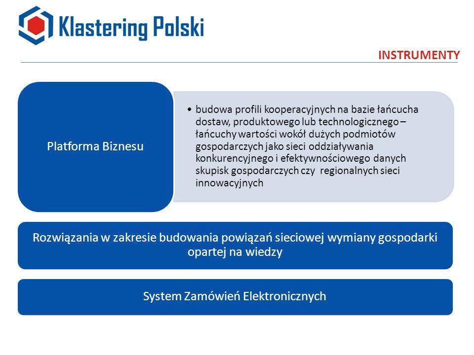 INSTRUMENTY budowa profili kooperacyjnych na bazie łańcucha dostaw, produktowego lub technologicznego – łańcuchy wartości wokół dużych podmiotów gospodarczych jako sieci oddziaływania konkurencyjnego i efektywnościowego danych skupisk gospodarczych czy regionalnych sieci innowacyjnych Platforma Biznesu Rozwiązania w zakresie budowania powiązań sieciowej wymiany gospodarki opartej na wiedzy System Zamówień Elektronicznych