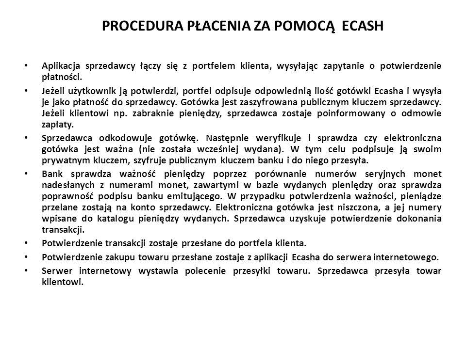 PROCEDURA PŁACENIA ZA POMOCĄ ECASH Aplikacja sprzedawcy łączy się z portfelem klienta, wysyłając zapytanie o potwierdzenie płatności. Jeżeli użytkowni