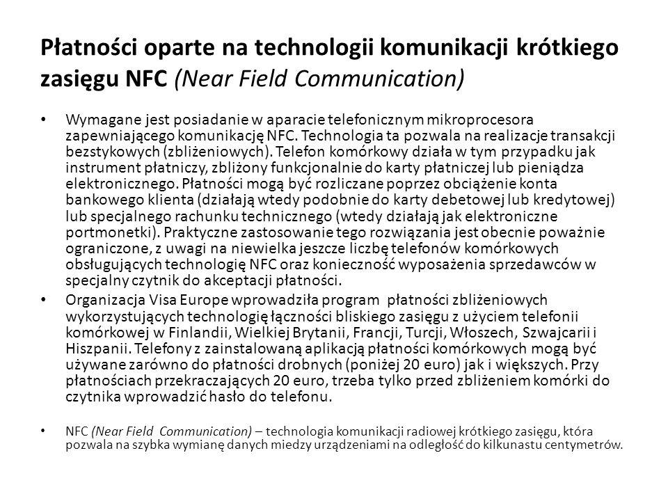 Płatności oparte na technologii komunikacji krótkiego zasięgu NFC (Near Field Communication) Wymagane jest posiadanie w aparacie telefonicznym mikropr