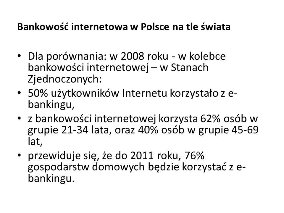Bankowość internetowa w Polsce na tle świata Dla porównania: w 2008 roku - w kolebce bankowości internetowej – w Stanach Zjednoczonych: 50% użytkownik