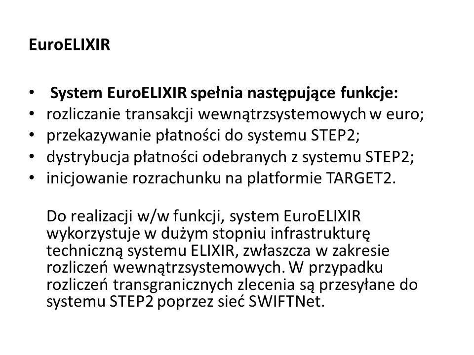 EuroELIXIR System EuroELIXIR spełnia następujące funkcje: rozliczanie transakcji wewnątrzsystemowych w euro; przekazywanie płatności do systemu STEP2;
