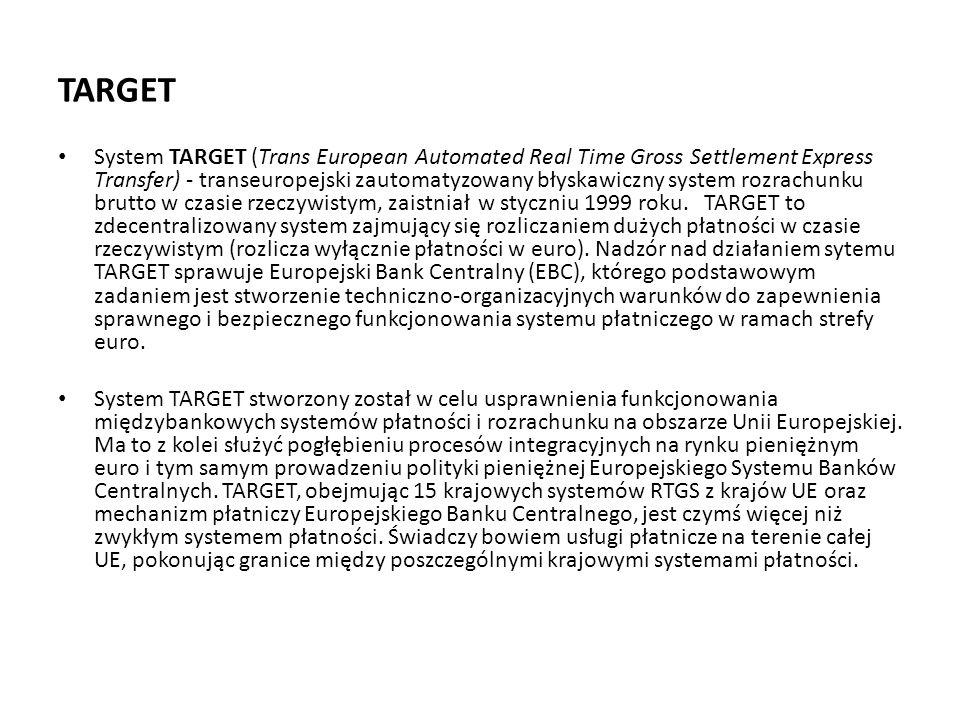 TARGET System TARGET (Trans European Automated Real Time Gross Settlement Express Transfer) - transeuropejski zautomatyzowany błyskawiczny system rozr