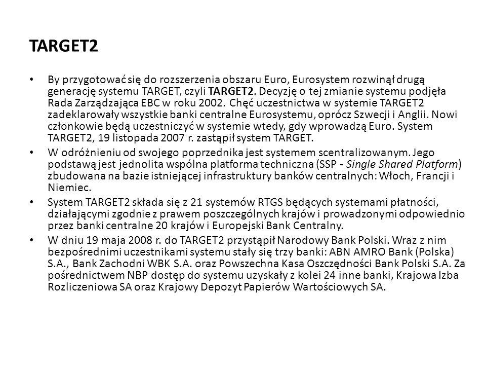 TARGET2 By przygotować się do rozszerzenia obszaru Euro, Eurosystem rozwinął drugą generację systemu TARGET, czyli TARGET2. Decyzję o tej zmianie syst