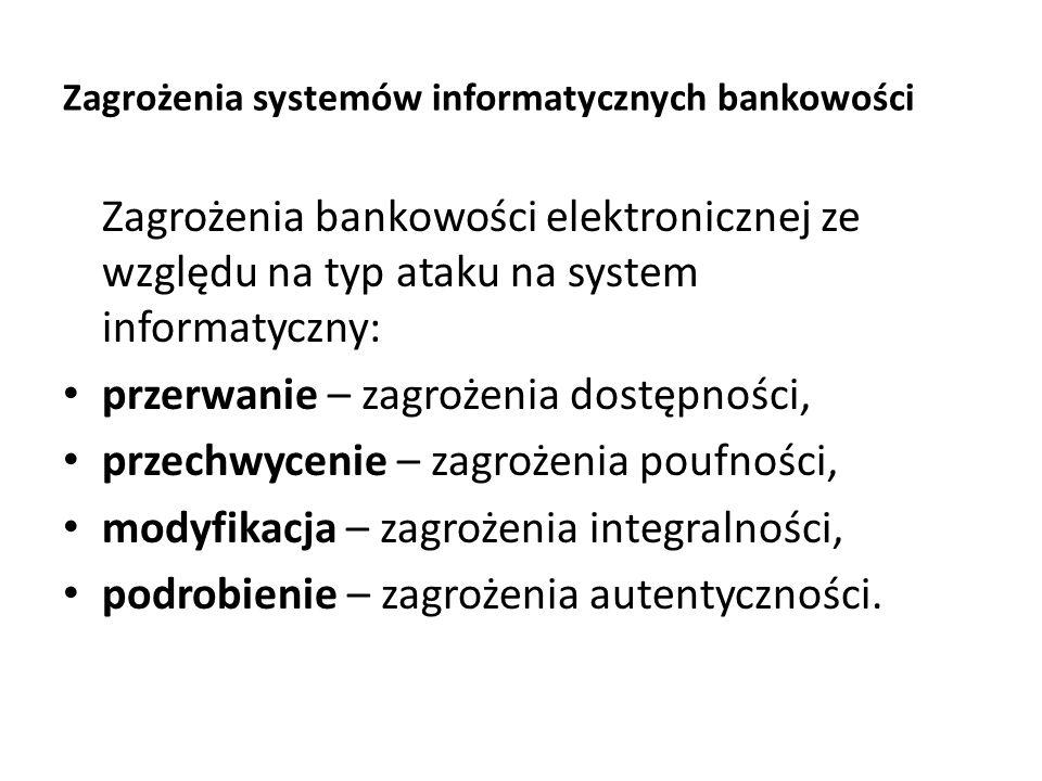 Zagrożenia systemów informatycznych bankowości Zagrożenia bankowości elektronicznej ze względu na typ ataku na system informatyczny: przerwanie – zagr