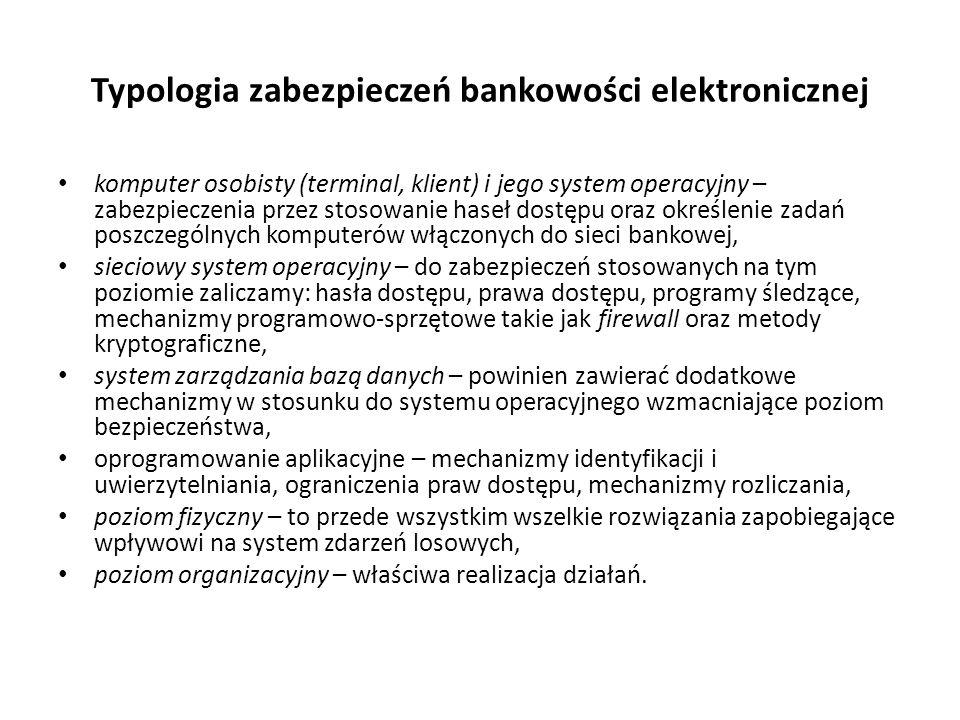 Typologia zabezpieczeń bankowości elektronicznej komputer osobisty (terminal, klient) i jego system operacyjny – zabezpieczenia przez stosowanie haseł