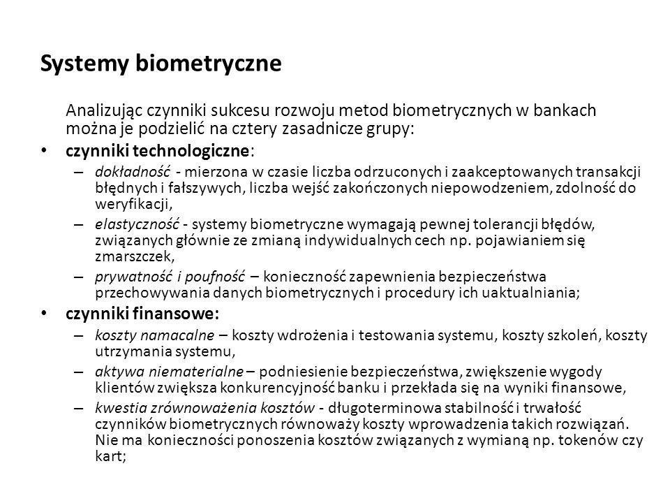 Systemy biometryczne Analizując czynniki sukcesu rozwoju metod biometrycznych w bankach można je podzielić na cztery zasadnicze grupy: czynniki techno