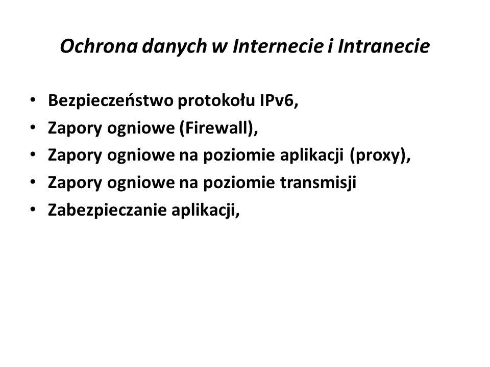 Ochrona danych w Internecie i Intranecie Bezpieczeństwo protokołu IPv6, Zapory ogniowe (Firewall), Zapory ogniowe na poziomie aplikacji (proxy), Zapor