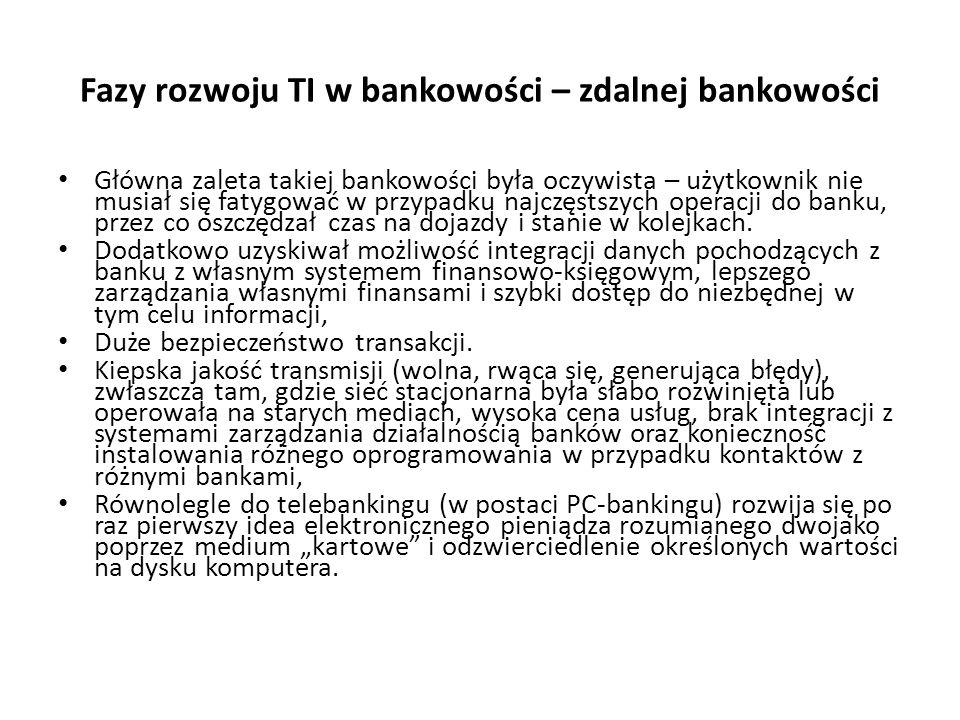 Fazy rozwoju TI w bankowości – zdalnej bankowości Główna zaleta takiej bankowości była oczywista – użytkownik nie musiał się fatygować w przypadku naj