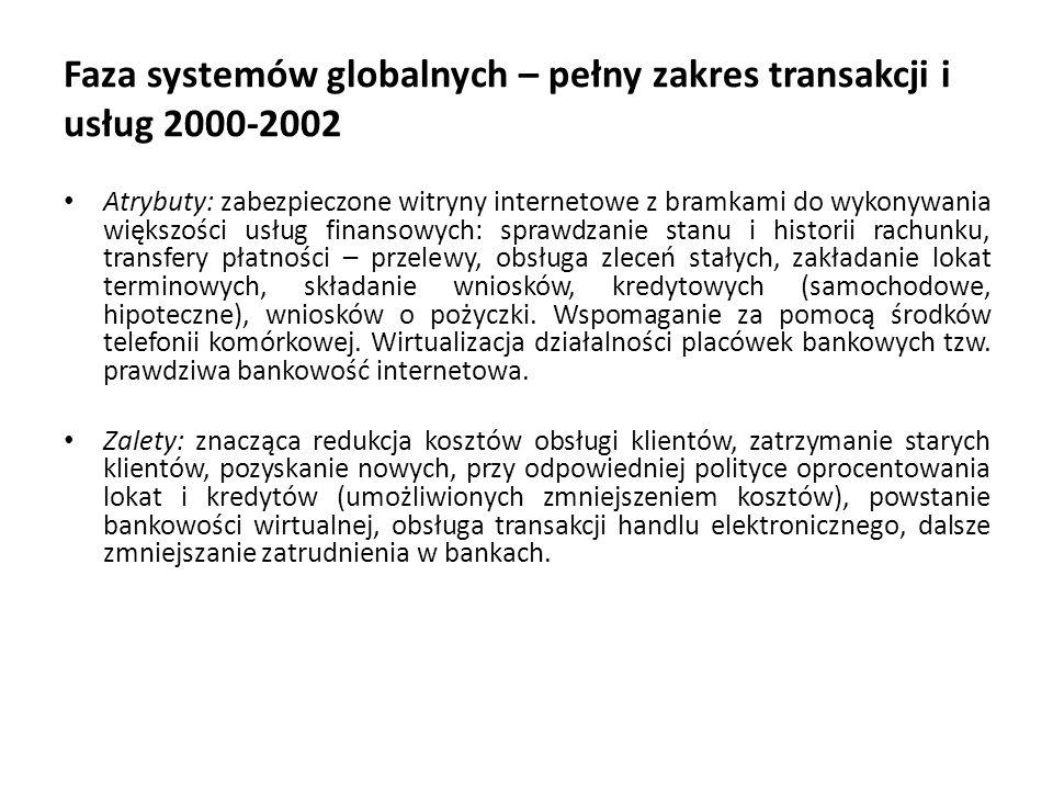 Faza systemów globalnych – pełny zakres transakcji i usług 2000-2002 Atrybuty: zabezpieczone witryny internetowe z bramkami do wykonywania większości