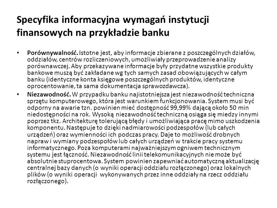 Specyfika informacyjna wymagań instytucji finansowych na przykładzie banku Elastyczność.