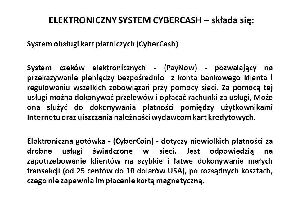 ELEKTRONICZNY SYSTEM CYBERCASH – składa się: System obsługi kart płatniczych (CyberCash) System czeków elektronicznych - (PayNow) - pozwalający na prz