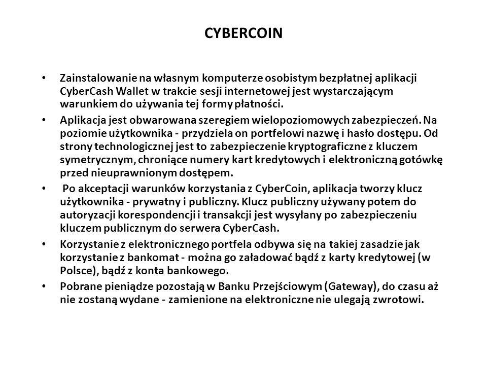 CYBERCOIN Zainstalowanie na własnym komputerze osobistym bezpłatnej aplikacji CyberCash Wallet w trakcie sesji internetowej jest wystarczającym warunk