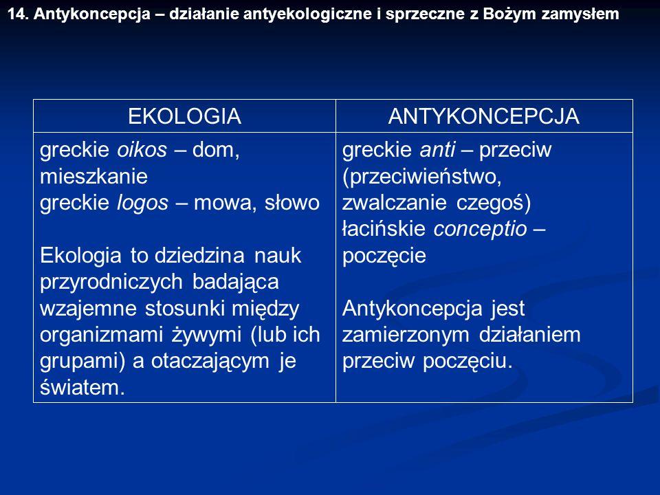 14. Antykoncepcja – działanie antyekologiczne i sprzeczne z Bożym zamysłem EKOLOGIA greckie oikos – dom, mieszkanie greckie logos – mowa, słowo Ekolog