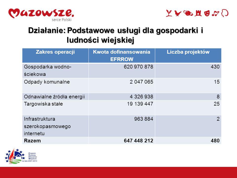 11 Działanie: Podstawowe usługi dla gospodarki i ludności wiejskiej ludności wiejskiej Zakres operacji Kwota dofinansowania EFRROW Liczba projektów Go