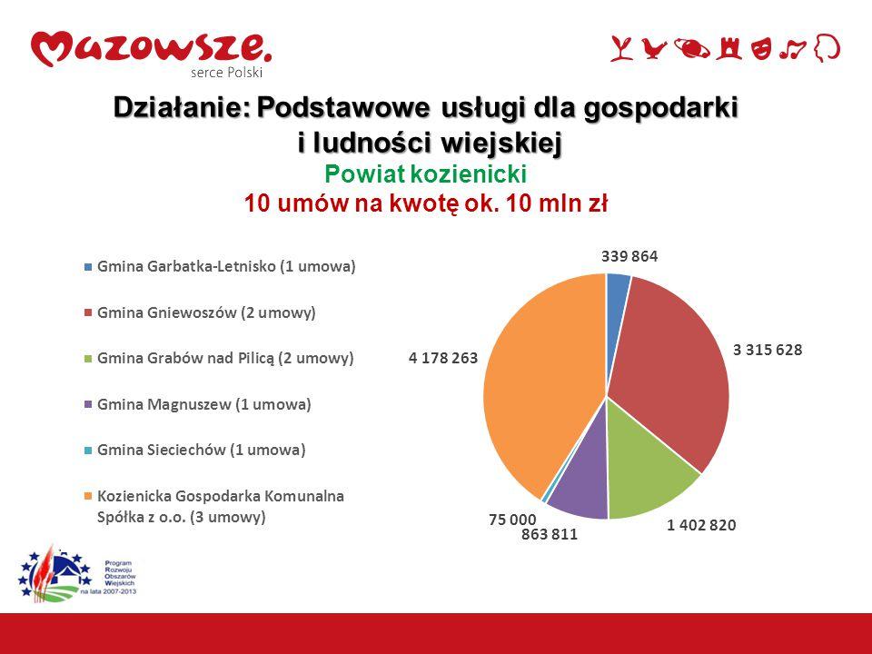 Działanie: Podstawowe usługi dla gospodarki i ludności wiejskiej i ludności wiejskiej Powiat kozienicki 10 umów na kwotę ok. 10 mln zł 12