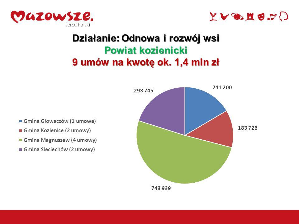 8 Działanie: Odnowa i rozwój wsi Powiat kozienicki 9 umów na kwotę ok. 1,4 mln zł