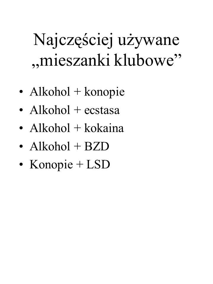 """Najczęściej używane """"mieszanki klubowe"""" Alkohol + konopie Alkohol + ecstasa Alkohol + kokaina Alkohol + BZD Konopie + LSD"""