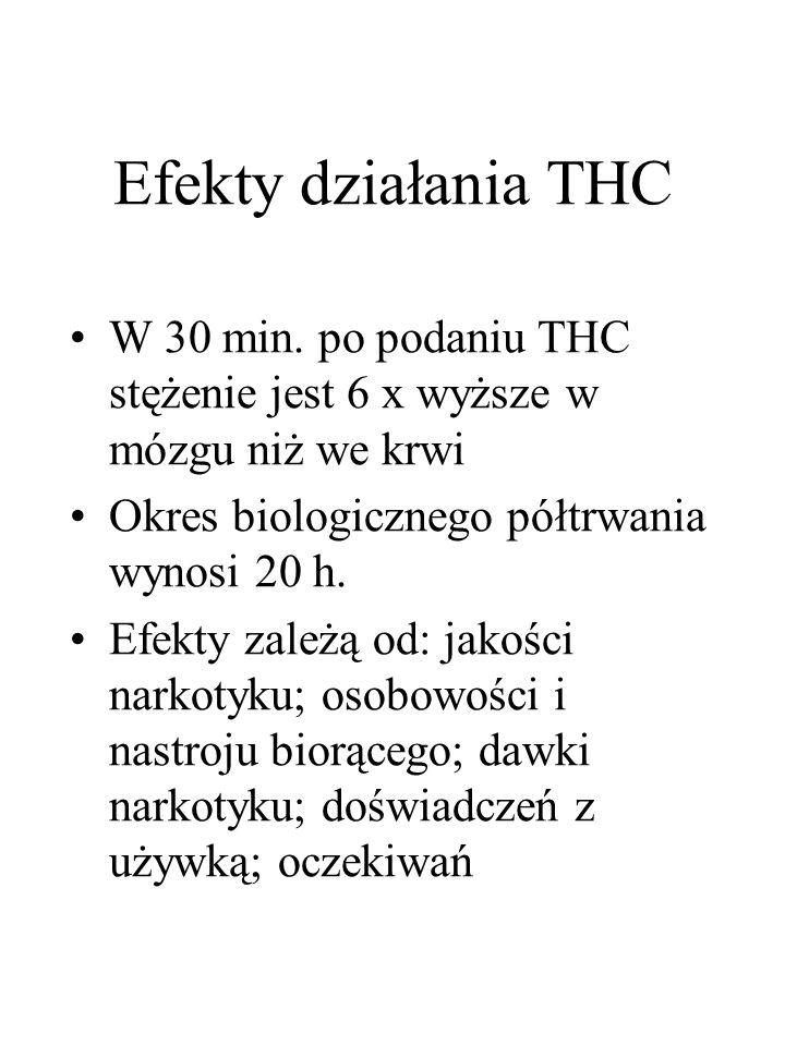 Efekty działania THC W 30 min. po podaniu THC stężenie jest 6 x wyższe w mózgu niż we krwi Okres biologicznego półtrwania wynosi 20 h. Efekty zależą o