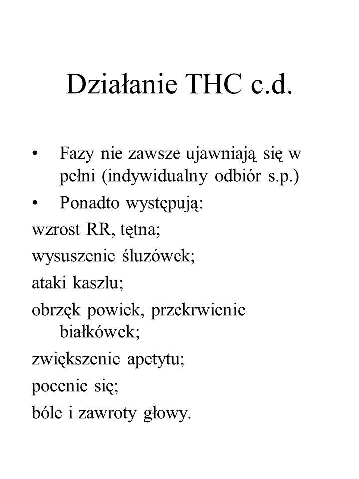 Działanie THC c.d. Fazy nie zawsze ujawniają się w pełni (indywidualny odbiór s.p.) Ponadto występują: wzrost RR, tętna; wysuszenie śluzówek; ataki ka