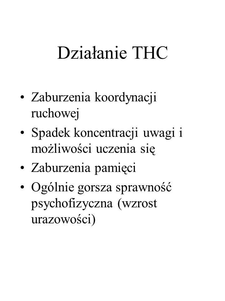 Działanie THC Zaburzenia koordynacji ruchowej Spadek koncentracji uwagi i możliwości uczenia się Zaburzenia pamięci Ogólnie gorsza sprawność psychofizyczna (wzrost urazowości)