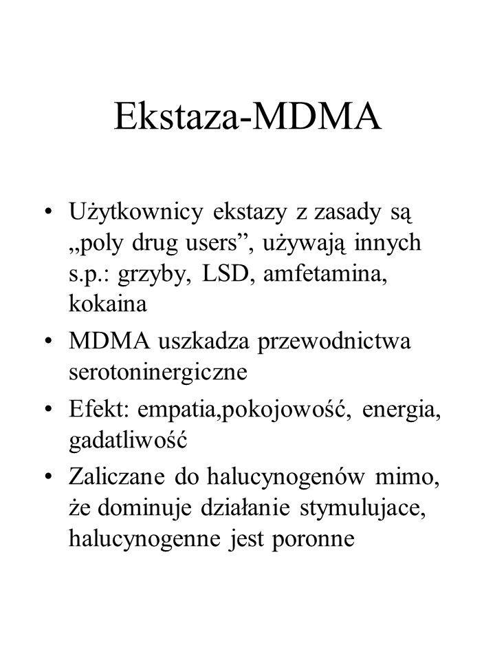 """Ekstaza-MDMA Użytkownicy ekstazy z zasady są """"poly drug users , używają innych s.p.: grzyby, LSD, amfetamina, kokaina MDMA uszkadza przewodnictwa serotoninergiczne Efekt: empatia,pokojowość, energia, gadatliwość Zaliczane do halucynogenów mimo, że dominuje działanie stymulujace, halucynogenne jest poronne"""