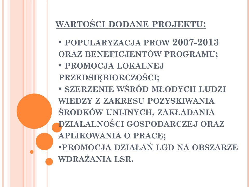WARTOŚCI DODANE PROJEKTU : POPULARYZACJA PROW 2007-2013 ORAZ BENEFICJENTÓW PROGRAMU ; PROMOCJA LOKALNEJ PRZEDSIĘBIORCZOŚCI ; SZERZENIE WŚRÓD MŁODYCH LUDZI WIEDZY Z ZAKRESU POZYSKIWANIA ŚRODKÓW UNIJNYCH, ZAKŁADANIA DZIAŁALNOŚCI GOSPODARCZEJ ORAZ APLIKOWANIA O PRACĘ ; PROMOCJA DZIAŁAŃ LGD NA OBSZARZE WDRAŻANIA LSR.