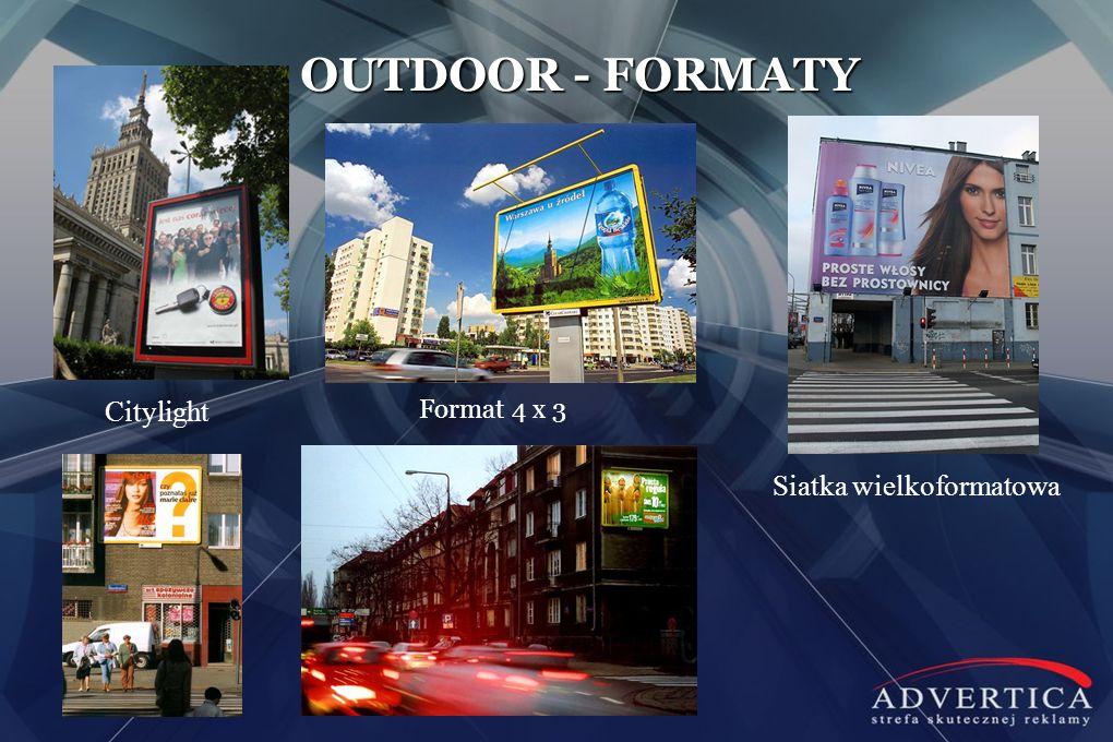 Format 4 x 3 OUTDOOR - FORMATY Citylight Siatka wielkoformatowa