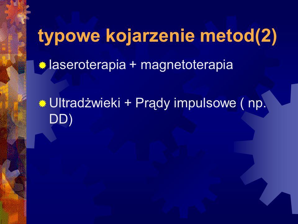 typowe kojarzenie metod(2)  laseroterapia + magnetoterapia  Ultradżwieki + Prądy impulsowe ( np. DD)