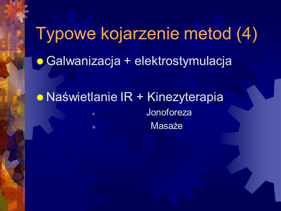  Galwanizacja + elektrostymulacja  Naświetlanie IR + Kinezyterapia Jonoforeza Masaże Typowe kojarzenie metod (4)