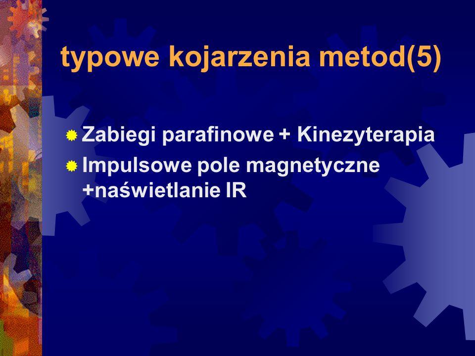 typowe kojarzenia metod(5)  Zabiegi parafinowe + Kinezyterapia  Impulsowe pole magnetyczne +naświetlanie IR