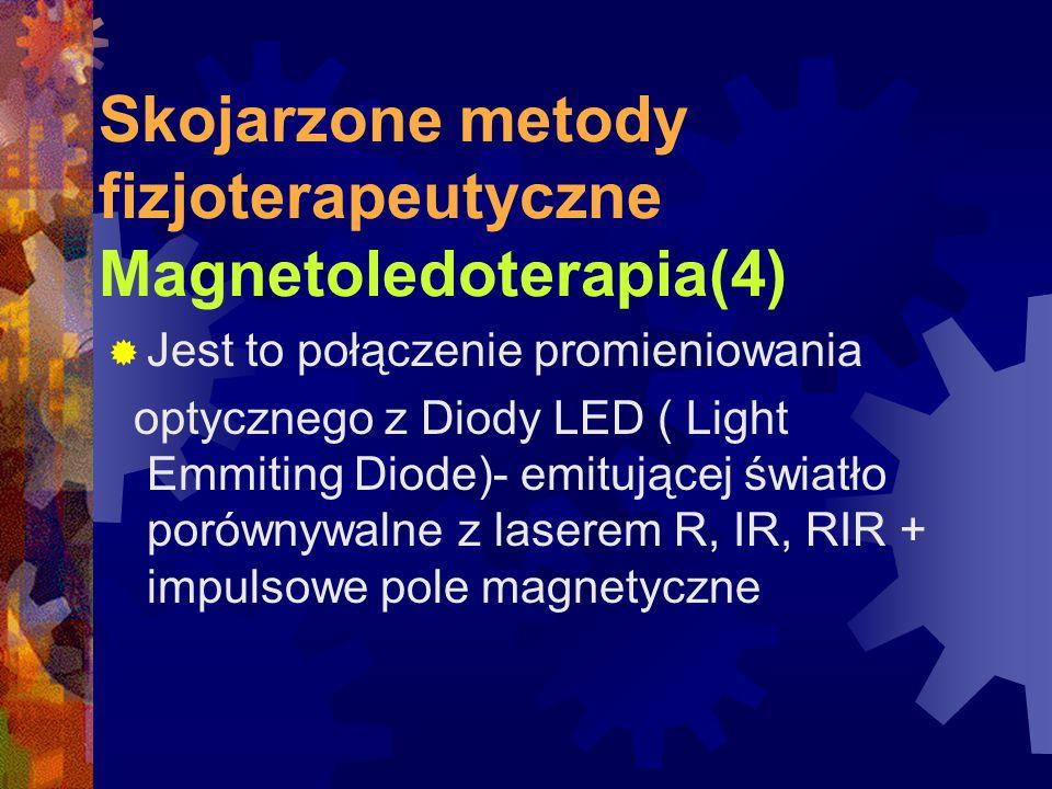 Skojarzone metody fizjoterapeutyczne Magnetoledoterapia(4)  Jest to połączenie promieniowania optycznego z Diody LED ( Light Emmiting Diode)- emitują