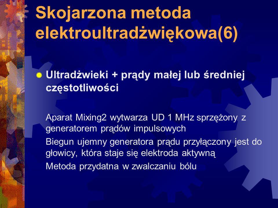 Skojarzona metoda elektroultradżwiękowa(6)  Ultradżwieki + prądy małej lub średniej częstotliwości Aparat Mixing2 wytwarza UD 1 MHz sprzężony z gener