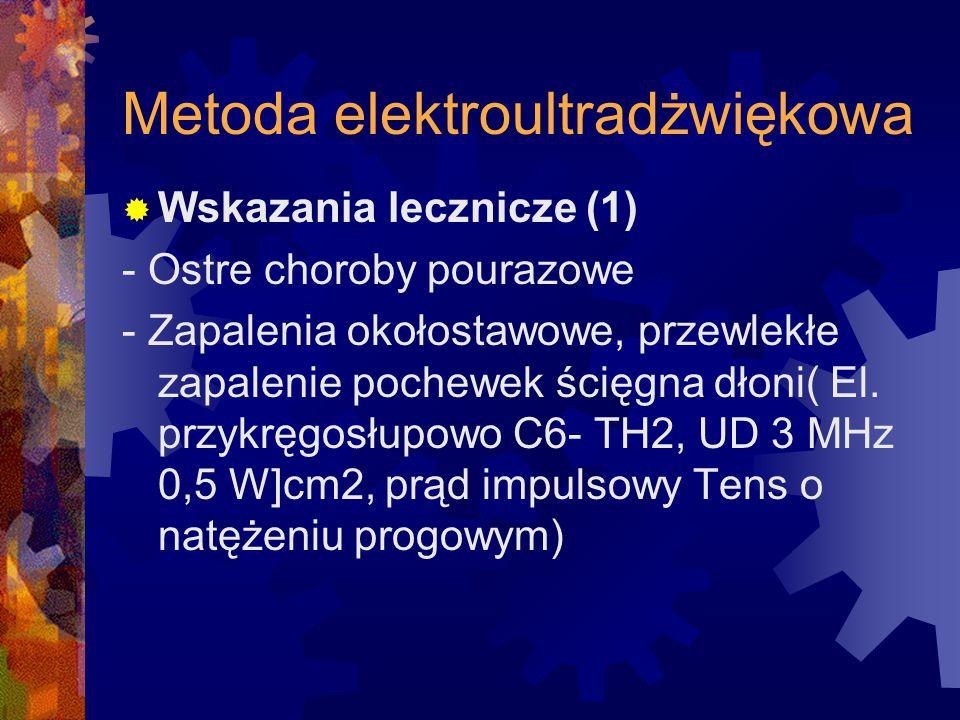 Metoda elektroultradżwiękowa  Wskazania lecznicze (1) - Ostre choroby pourazowe - Zapalenia okołostawowe, przewlekłe zapalenie pochewek ścięgna dłoni
