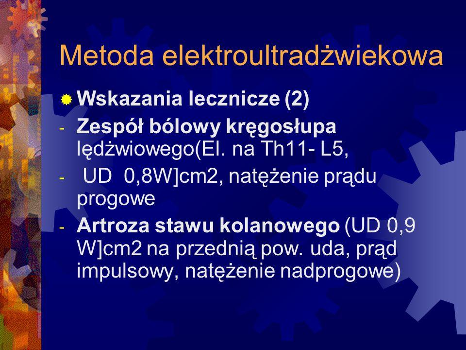 Metoda elektroultradżwiekowa  Wskazania lecznicze (2) - Zespół bólowy kręgosłupa lędżwiowego(El. na Th11- L5, - UD 0,8W]cm2, natężenie prądu progowe