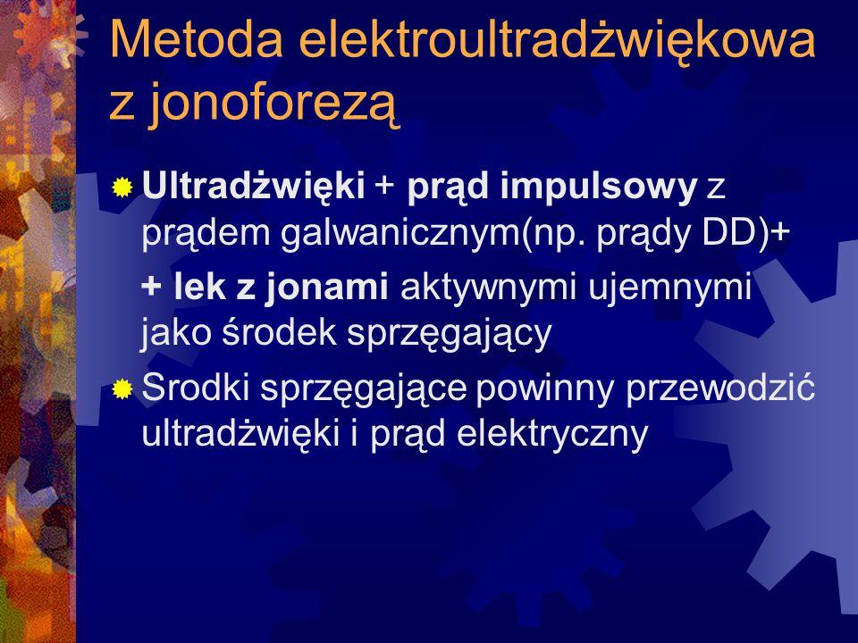 Metoda elektroultradżwiękowa z jonoforezą  Ultradżwięki + prąd impulsowy z prądem galwanicznym(np. prądy DD)+ + lek z jonami aktywnymi ujemnymi jako