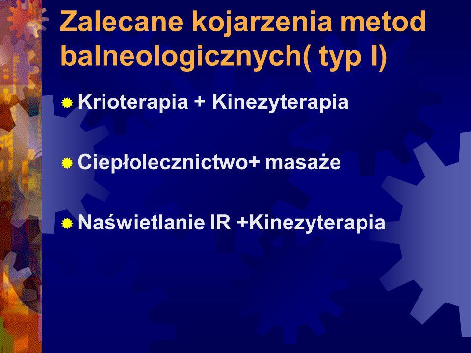Zalecane kojarzenia metod balneologicznych( typ I)  Krioterapia + Kinezyterapia  Ciepłolecznictwo+ masaże  Naświetlanie IR +Kinezyterapia