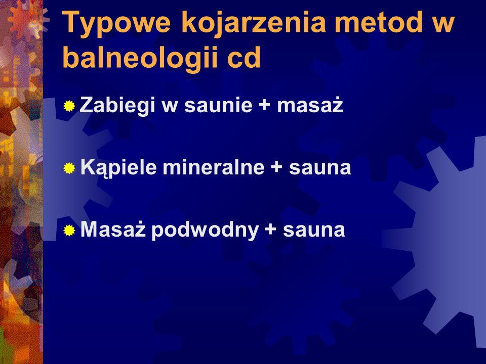 Typowe kojarzenia metod w balneologii cd  Zabiegi w saunie + masaż  Kąpiele mineralne + sauna  Masaż podwodny + sauna