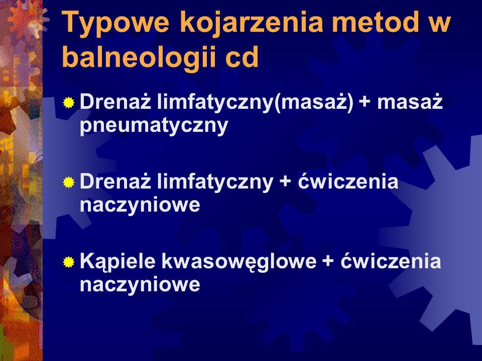 Typowe kojarzenia metod w balneologii cd  Drenaż limfatyczny(masaż) + masaż pneumatyczny  Drenaż limfatyczny + ćwiczenia naczyniowe  Kąpiele kwasow