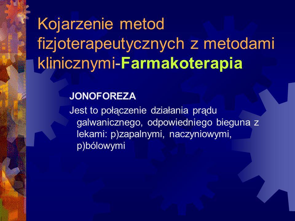 Kojarzenie metod fizjoterapeutycznych z metodami klinicznymi-Farmakoterapia JONOFOREZA Jest to połączenie działania prądu galwanicznego, odpowiedniego