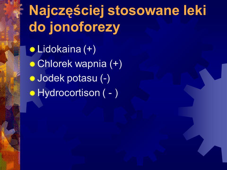 Najczęściej stosowane leki do jonoforezy  Lidokaina (+)  Chlorek wapnia (+)  Jodek potasu (-)  Hydrocortison ( - )